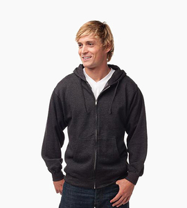 Independent trading company standard supply series men s zip hood   charcoal heather