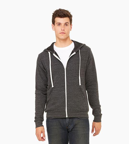 Bella   canvas unisex triblend sponge fleece full zip hoodie   charcoal black triblend