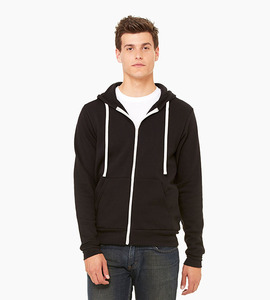 Bella   canvas unisex triblend sponge fleece full zip hoodie   solid black triblend