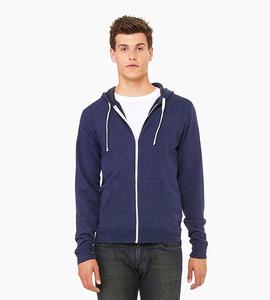 Bella   canvas unisex triblend sponge fleece full zip hoodie   navy triblend