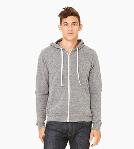 Bella   canvas unisex triblend sponge fleece full zip hoodie   grey triblend