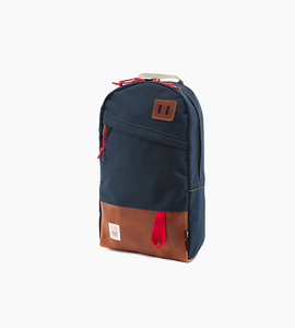 Topo design daypack   navy brown leather