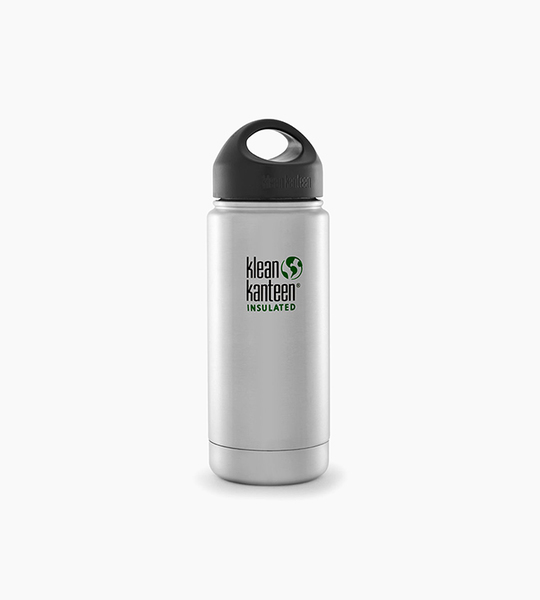 Klean kanteen insulated wide 16oz w loop cap   brushed stainless