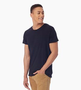 Alternative apparel heritage garment dyed crew t shirt   black