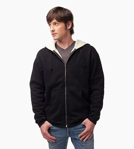 Independent trading company expedition series men s sherpa lined zip hood   black natural