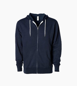 Independent trading company afx series unisex slim fit contrast draw cord zip hood   classic navy