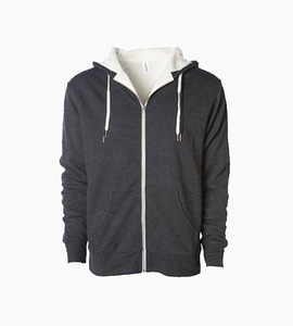 Independent trading company expedition series unisex french terry sherpa lined zip hood   charcoal heather