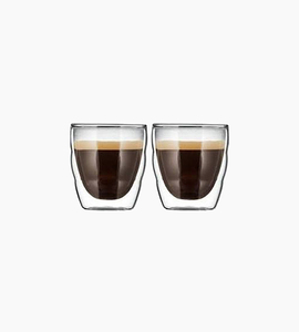 Bodum pilatus 2 pcs glass  double wall  extra small 2.5 oz   glass