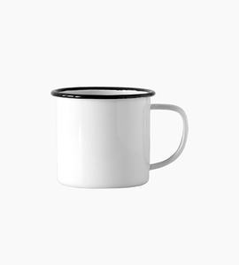 Crow canyon home small mug 8oz   white black rim